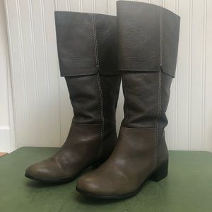 No. 704b Olive Leather Fold-Over Riding Boots